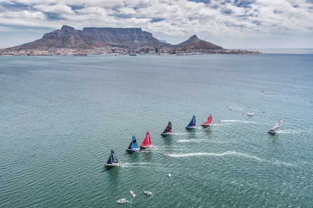 Cape Town Stopover. Practice Race from the helicopter. 06 December, 2017. Photo by Ainhoa Sanchez/Volvo Ocean Race
